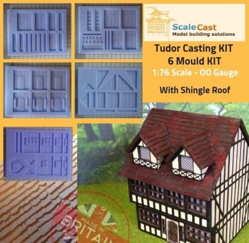Model Railway Scenery TUDOR Kit - FULL 6 Mould building including shingle roof