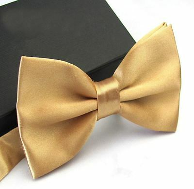 New Tuxedo PreTied Champagne Gold Bow Tie Satin Adjustable Band  US (Gold Bow Tie)