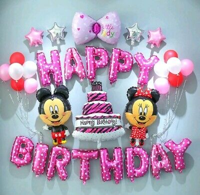 Disney Mickey & Minnie Mouse Luftballon Set 33 tlg. Geburtstag Dekoration Pink