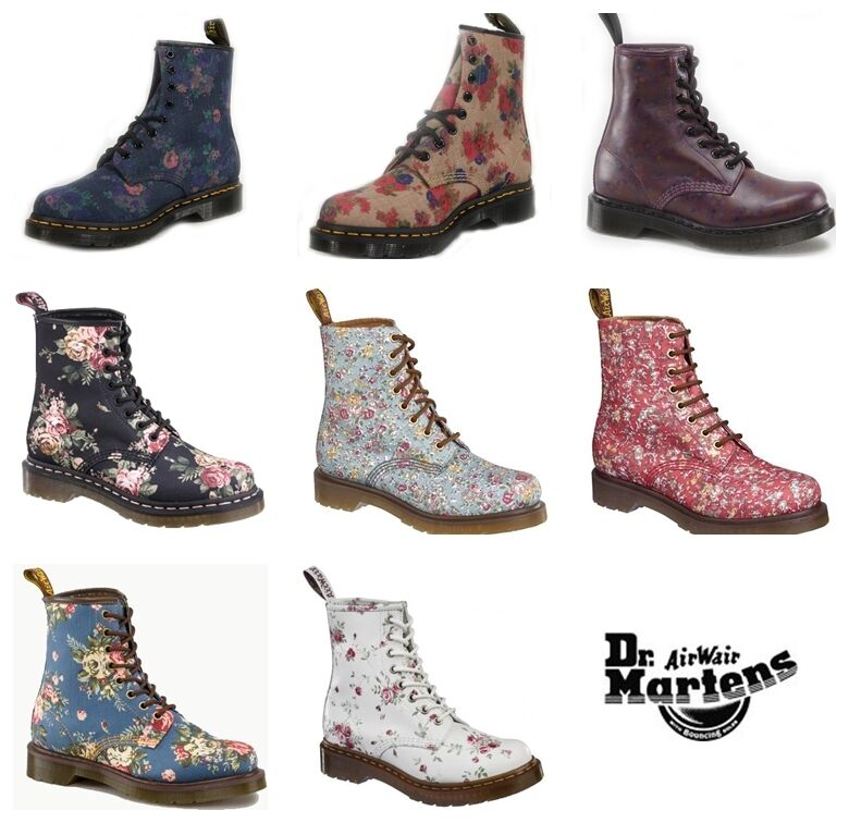 Dr Martens Womens 1460 Floral Flower 8 Eye Ankle Boots - Various ...