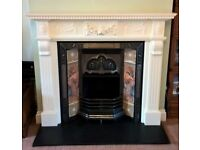 Gas Fireplace, Wooden Mantelpiece, Hearth and Replica Art Nouveau Tiled Surround