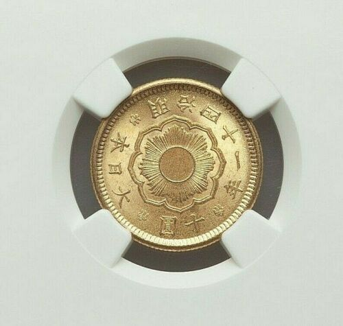 YEAR 41 (1908) JAPAN MEIJI GOLD 10 YEN NGC MS-63