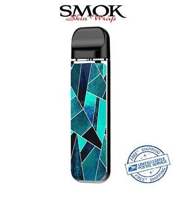 SMOK NOVO Skin Decal Protective Wrap Case Cover Sticker kit Teal shapes