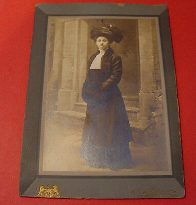 Vintage Max Butzmann Studio Photo Fashionable Lady Fur Muff New York 1890's