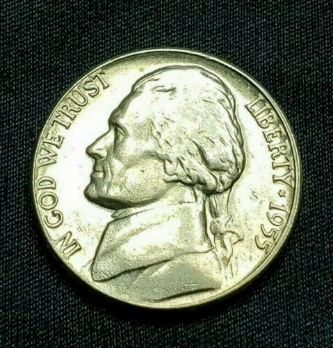 1955 D BU Jefferson Nickel, Choice, Mintage of 74.4 Mil, Free Ship