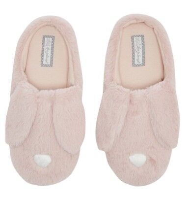 Ladies Pink Bunny Rabbit Primark Mule Slippers Boots Size 7 8 Easter Gift Fluffy