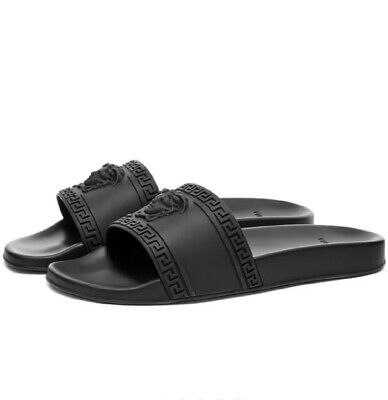 Versace PVC Medusa Slides Black Mens 9 Womens 10.5 $295 Retail