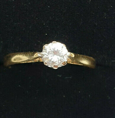 18ct Yellow Gold Natural 0.32ct Diamond Solitaire Ring Sml J US 5 Superb No Res for sale  Shipping to South Africa