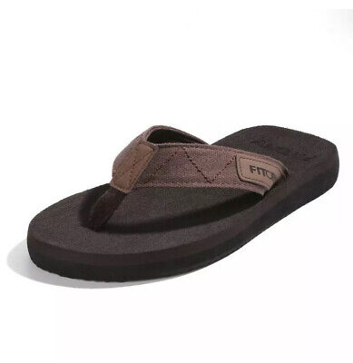 Fitory Mens Sz10 Black Grey Flip Flops