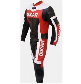 Ducati Motorbike Leather Racing Suit, CE Approved Armour, Cowhide Leather