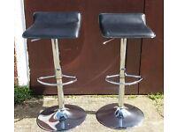 Pair of Chrome Pneumatic Adjustable Kitchen Bar Stools