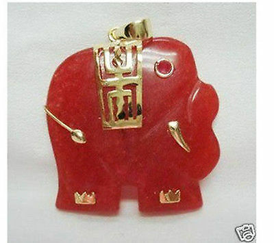 Used, Charming Red Jade Elephant Pendant Necklace AAA for sale  Shipping to Canada