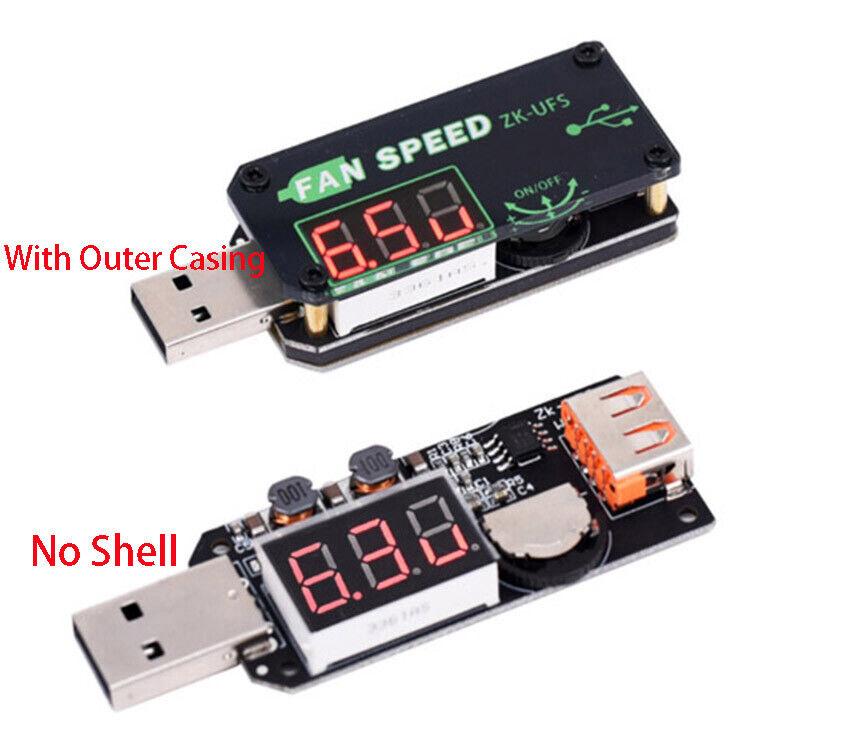 5V USB Fan Governor Speed Controller Adjuster Timer LED Module Cooling W// Shell