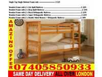 SINGLE AND DOUBLE WOODEN BUNK - BED WITH MATTRESS Barberville