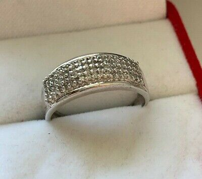 9ct White Gold Diamond Cluster Ring Size O 1/2 Hallmarked