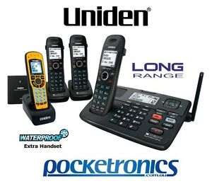 Uniden XDECT 8055+3WP LONG RANGE HF cordless phone 4 handsets (1 waterproof) NEW