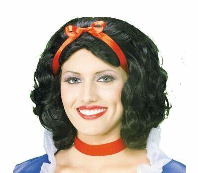 Schnee Weiß Perücke Kurz Schwarz Haar Damen Halloween Prinzessin Zubehör Kostüm