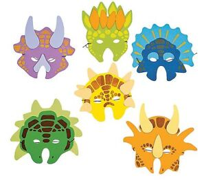 DINOSAUR MASKS X 12 NEW PARTY FAVOURS LATEX FOAM PREHISTORIC DINO DRESS UP FUN