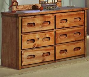 Pine 6 Drawer Dresser In Amber Wash Free Delivery In Calgary
