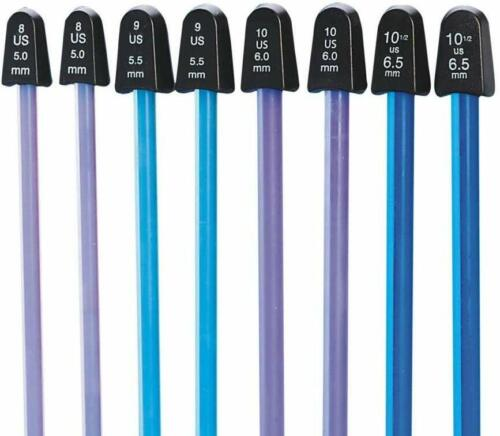 "Crystalites Single Point Knitting Needles 10"" Gift Set Sizes 8 To 077216002135"