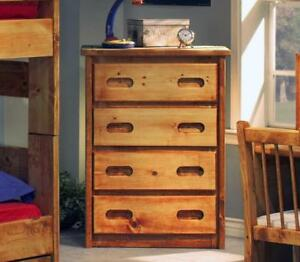FREE delivery in Montreal! Pine 4 Drawer Chest in Amber Wash