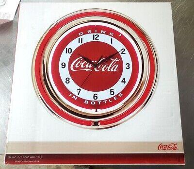 "NIB Classic Coca-Cola Double Neon Clock Vintage Look "" Drink In Bottles """