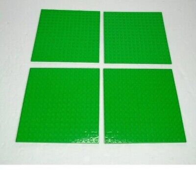 "Lego Base Plate Bright Green 16 x 16 Dot Square Base Plates 5"" x 5"" Lot Of 4"