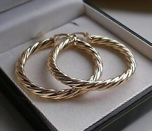LARGE REAL 9CT GOLD FILLED HOOP EARRINGS SILLY PRICE stock ref 99