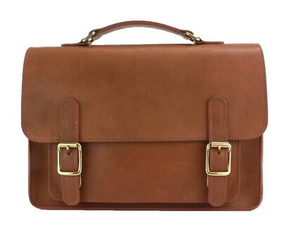 The British Belt Company Kingston Leather Flapover Satchel Made in Britain  ()