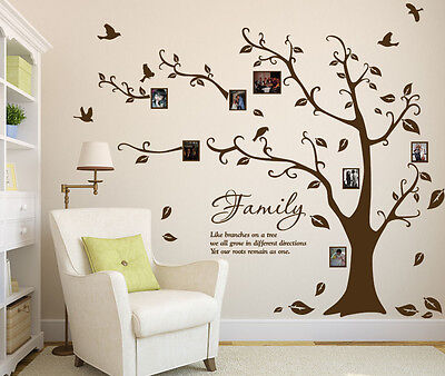 Family Photo Tree Birds Art Vinyl Wall Sticker, DIY Wall Decal- HIGH QUALITY