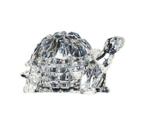 """Turtle Candy Jar 90049 Trinket Box Crystal Cut Acrylic Clear 6"""" L"""