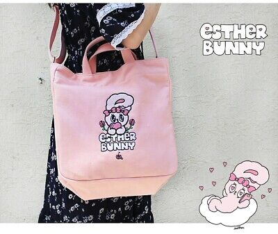 Esther Bunny Canvas Pink Cross Shoulder Large Bag EstherLovesYou Bunny Bag