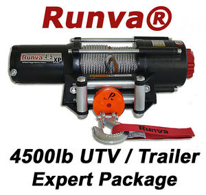 4500lb-New-Runva-ATV-UTV-Trailer-12V-Towing-Recovery-Electric-Winch-Kit