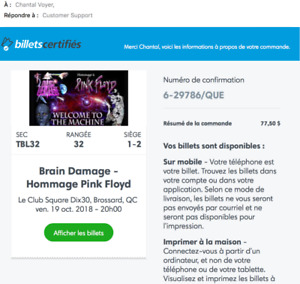 "2 billets Hommage à Pink Floyd ""Brain damage"" tickets"