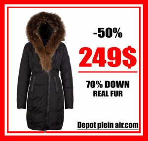 SALE WINTER COATS WITH 70% DOWN REAL FUR !