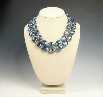 Elegant Sparkling Chunky Large Blue Crystals Beads Double Row Statement -