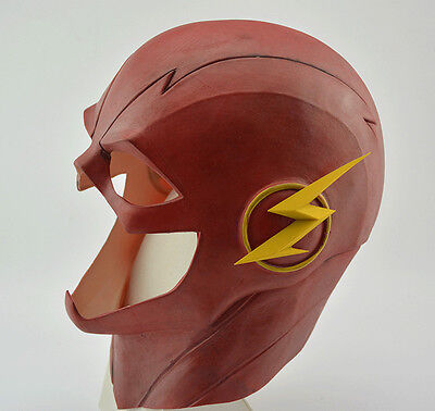 Red Latex Full Face Head Mask The Flash Mask Helmet Halloween Kid Gifts Cosplay - Flash Mask