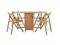 Butterfly Oval Dining Set and 4 Oak Stain Chairs 286.