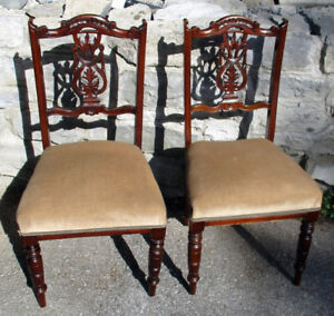 New Price - Pair Walnut Side Chairs