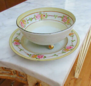Vintage NIPPON Footed Bowl and Saucer Set - Hand painted