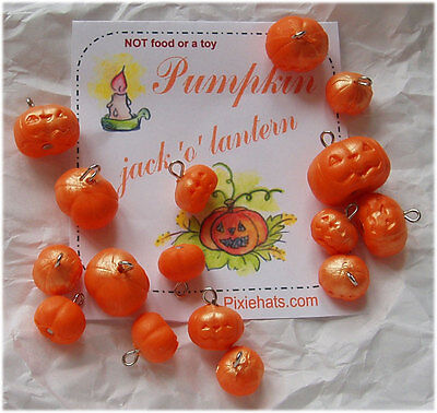 Pumpkin charm beads Halloween jack 'o' lantern polymer clay pendant Samhain  ()