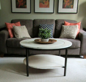MODERN WOOD/METAL SHABBY CHIC ROUND COFFEE TABLE -