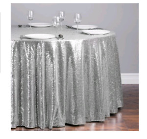 Round sequin table cloth.