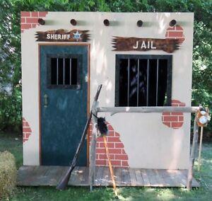 Piece de scene pour photos Cowboy, Western jail photo backdrop
