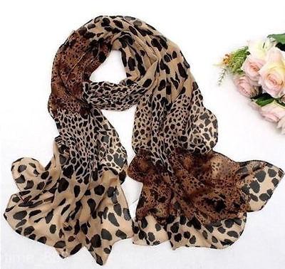Fashion Women's Long Soft Wrap Lady Shawl Silk Leopard Chiffon Scarf New