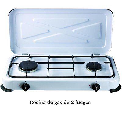 COCINA GAS DE DOS FUEGOS, PORTATIL, PARA BUTANO,CON TAPADERA. (2 CAMPING PLAYA)