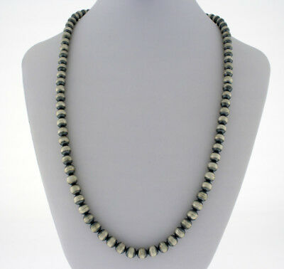Traditional Sterling Silver Bead Necklace By Navajo Artist Jan Mariano