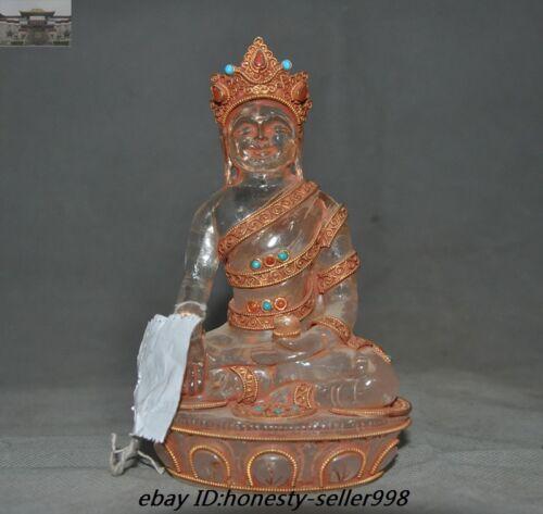 Nepal Crystal Filigree Silver 24KGold inlay Gem Sakyamuni Medicine Buddha Statue