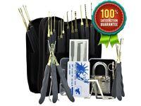 26pc Yale, Era, Cisa, Etc Lock Pick Picking Set + Transparent Training Pratice Lock - Free Carry Bag
