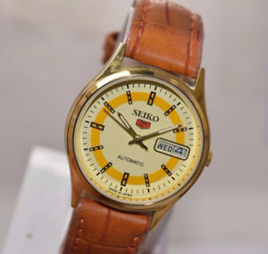 VINTAGE MEN'S SEIKO 5 GOLD PLATED AUTOMATIC WATCH
